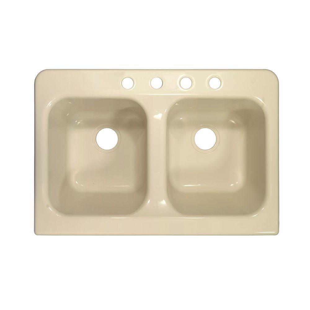 Lyons Industries Apron Drop-In Acrylic 34 in. 4-Hole 50/50 Double Bowl Kitchen Sink in Almond