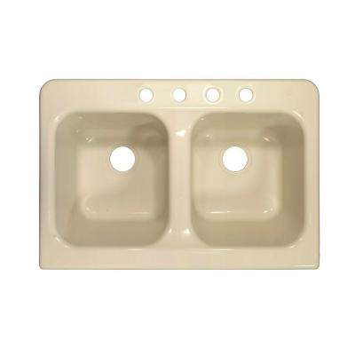 Apron Drop-In Acrylic 34 in. 4-Hole 50/50 Double Bowl Kitchen Sink in Almond