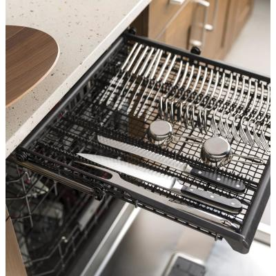 Profile Smart Top Control Dishwasher in Black Slate with Stainless Steel Tub, Fingerprint Resistant, 40 dBA