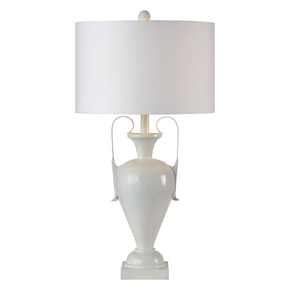 Wakashiki 29 in. Glossy White Table Lamp