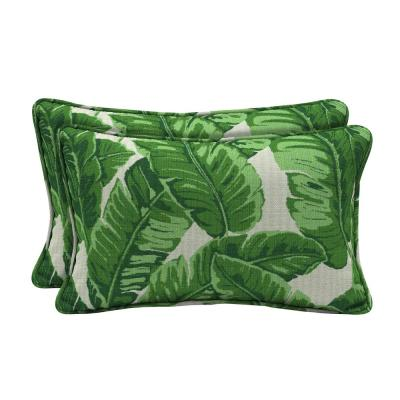 Sunbrella Tropics Jungle Lumbar Outdoor Throw Pillow (2-Pack)