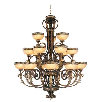 Seville 18-Light Ceiling Palacial Bronze Incandescent Chandelier with Gilded Accents