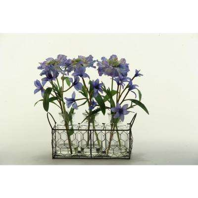 Indoor Light Blue Scabiosa and Spike Flowers in Glass Milk Bottles with Wire Holder