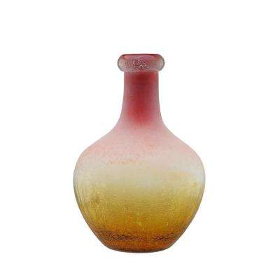 12.25 in. Amber Yellow Crackled and Coral Frosted Hand Blown Glass Vase