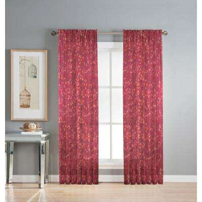 Sheer Pinehurst Printed 54 in. W x 84 in. L Rod Pocket Extra Wide Curtain Panel in Sheer Cayenne