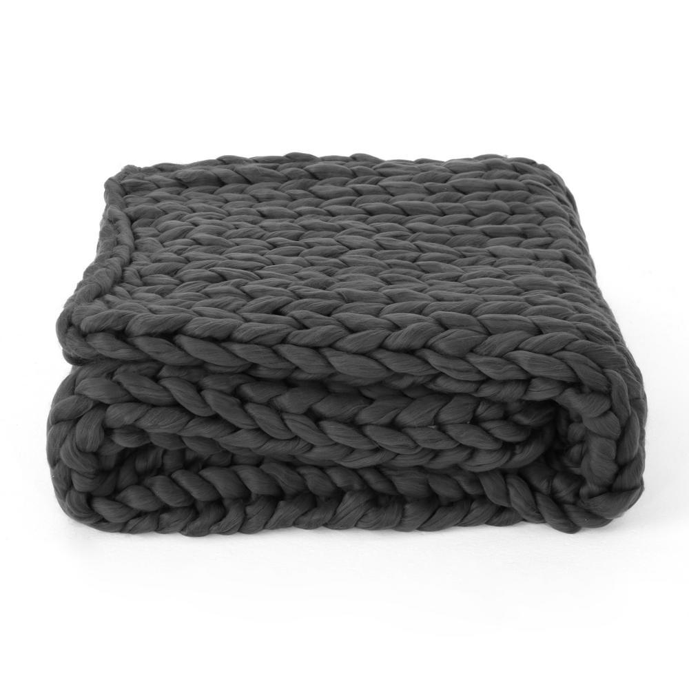 Marnie Dark Grey Acrylic Throw Blanket