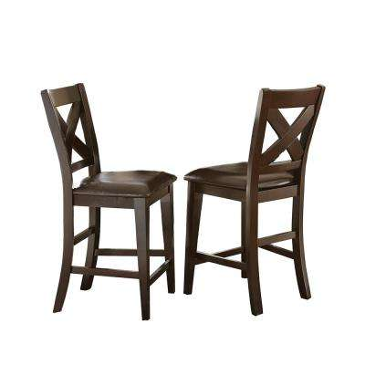 Crosspointe 43 in. Dark Espresso Counter Chair (Set of 2)
