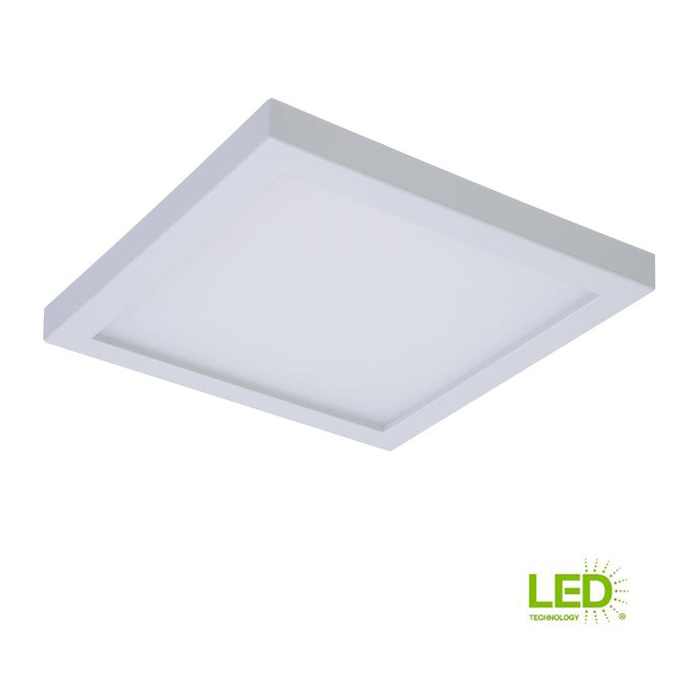 White integrated led recessed square surface mount ceiling light fixture with