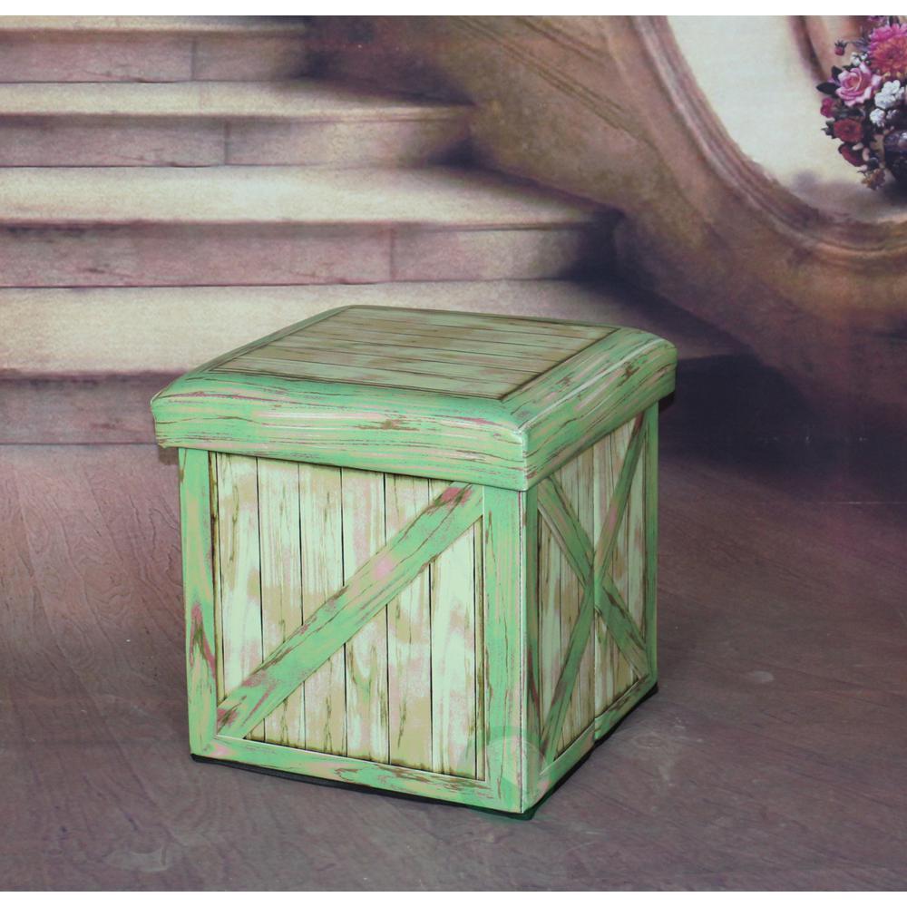 Vintiquewise Antique Green Storage Ottoman