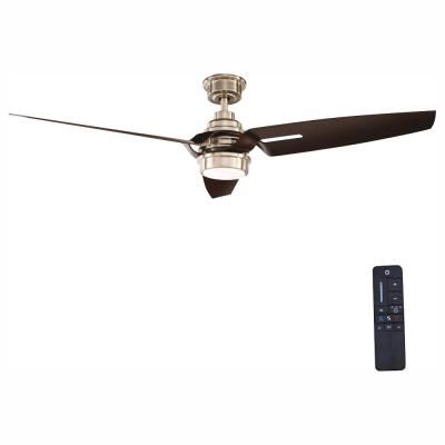 Iron Crest 60 in. LED DC Motor Indoor Brushed Nickel Ceiling Fan with Light Kit and Remote Control