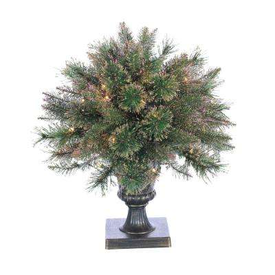 2 ft. Pre-Lit Fiber Optic Cashmere Artificial Christmas Tree with Gold Glittered Plastic Pot