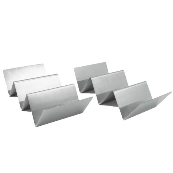 2-Piece Stainless Steel Taco Holder 8.25 in. x 4 in. x 2 in.