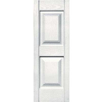 12 in. x 35 in. Raised Panel Vinyl Exterior Shutters Pair in #117 Bright White