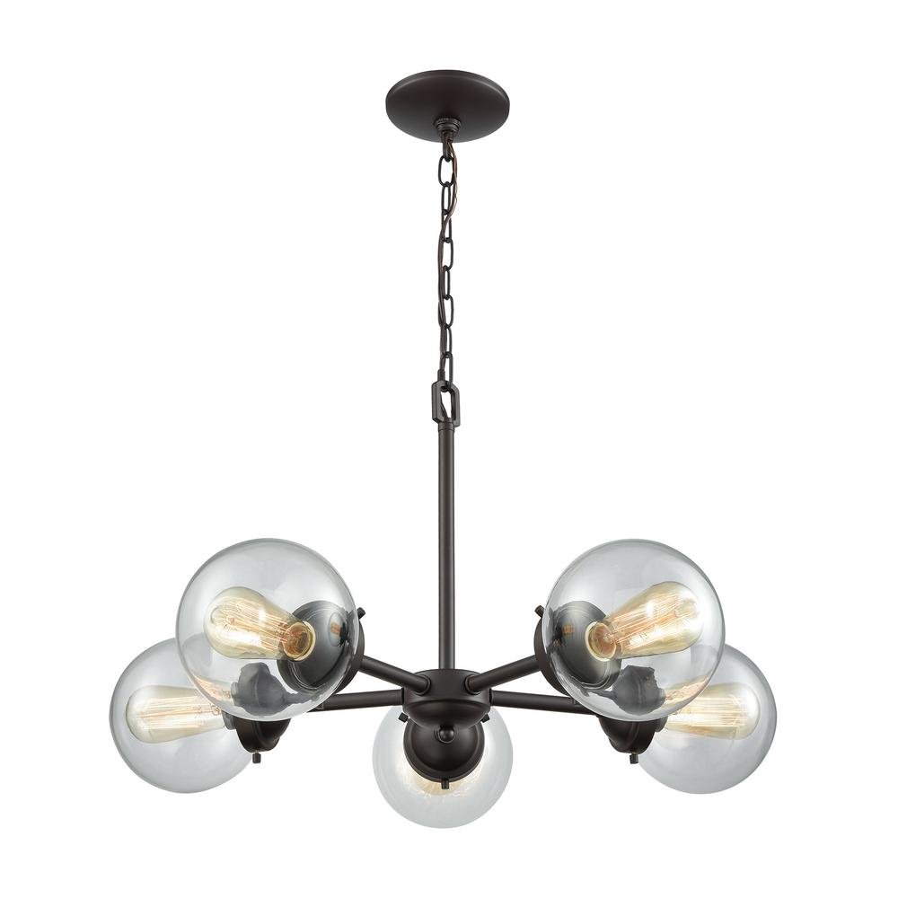 Beckett 5-Light Oil Rubbed Bronze Chandelier With Clear Glass Shades