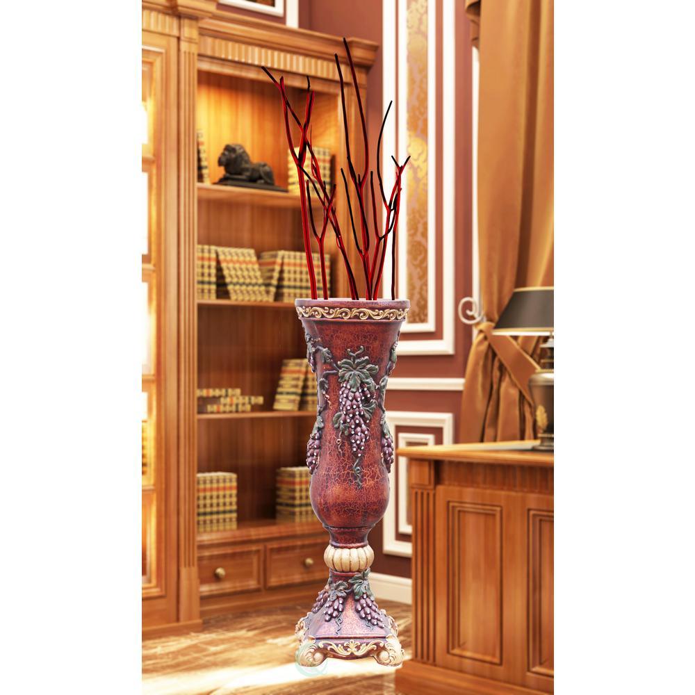 13 in. W x 13 in. D x 40 in. H Magnesium Oxide Grape Goblet Style Floor Vase