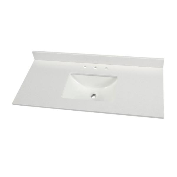 49 in. W x 22 in. D Engineered Marble Vanity Top in Snowstorm with White Single Trough Sink