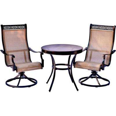 Monaco 3-Piece Aluminum Outdoor Bistro Set with Round Glass-Top Table with Contoured Swivel Chairs