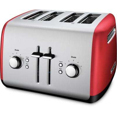 4-Slice Red and Silver Toaster