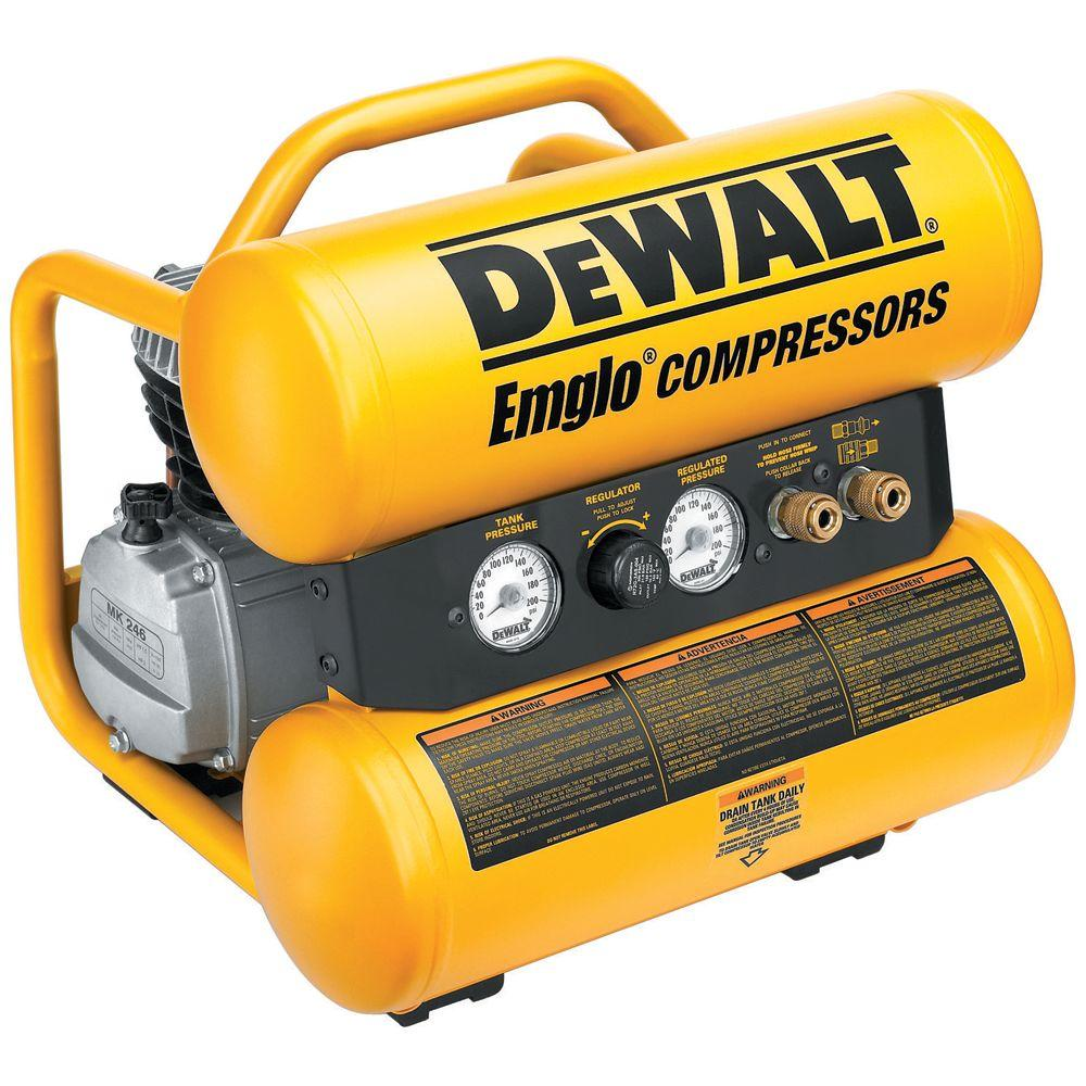 DEWALT 4 Gal. 1.1 HP Continuous Electric Hand Carry Compressor with Control Panel