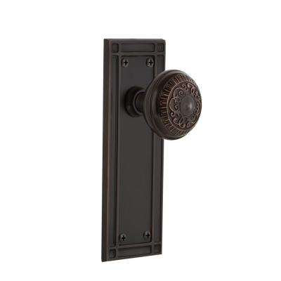 Mission Plate Double Dummy Egg and Dart Door Knob in Timeless Bronze