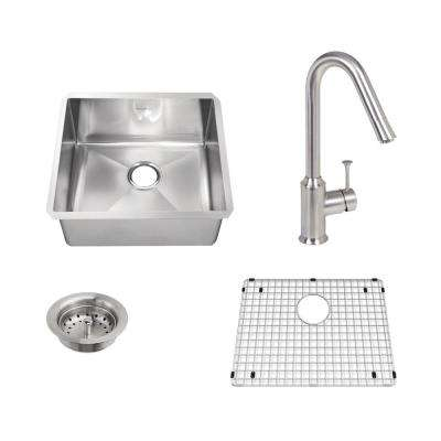 Pekoe All-in-One Undermount Stainless Steel 23 in. Single Bowl Kitchen Sink with Faucet in Stainless Steel