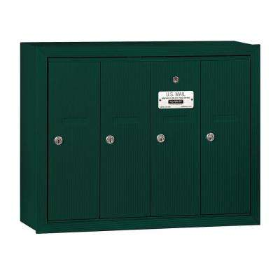 3500 Series Green Surface-Mounted Private Vertical Mailbox with 4 Doors