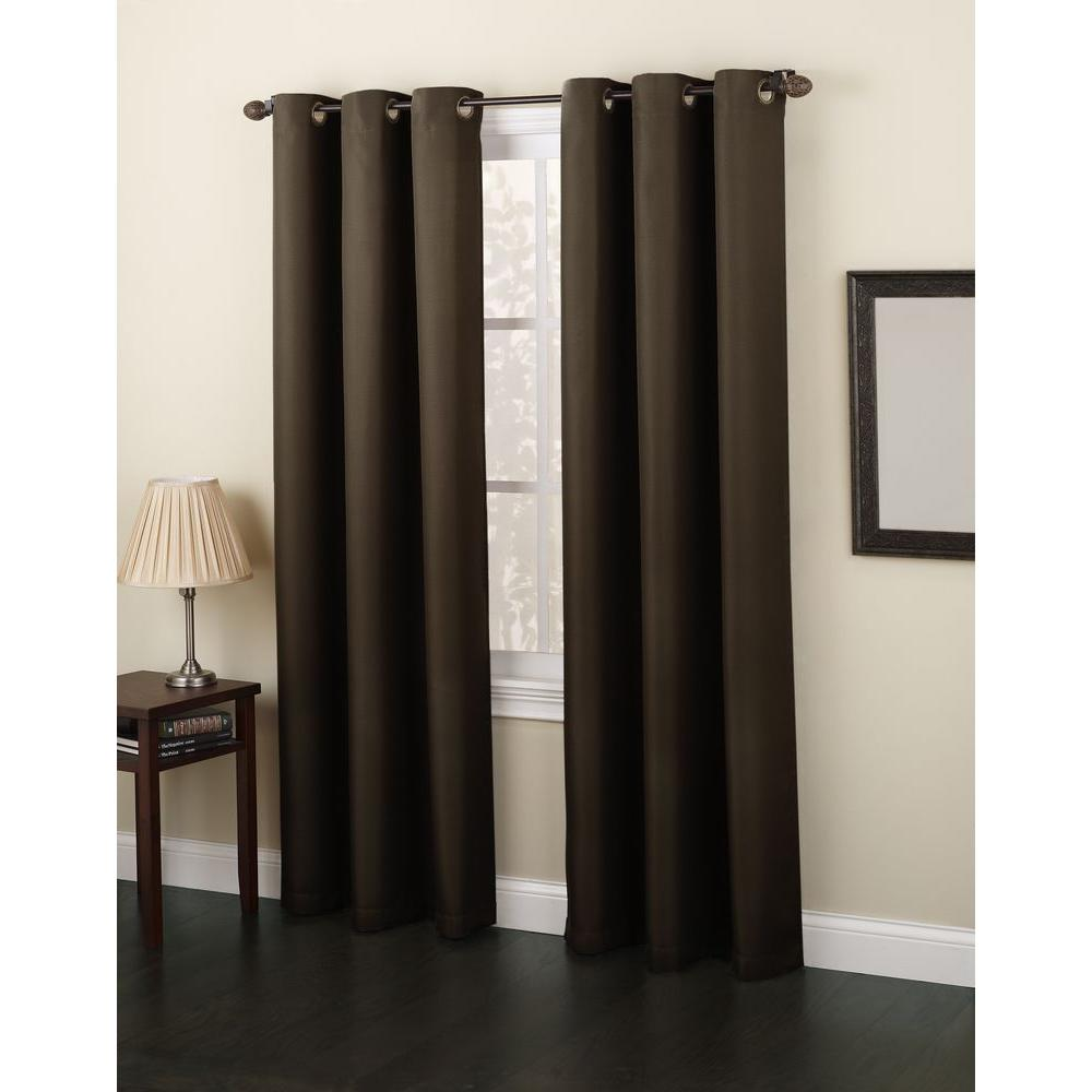 null Semi-Opaque Chocolate No. 918 Casual Montego Woven Grommet Top Curtain Panel, 48 in. W x 95 in. L