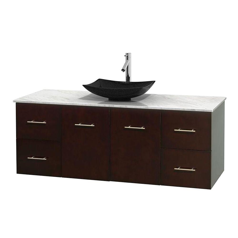Centra 60 in. Vanity in Espresso with Marble Vanity Top in