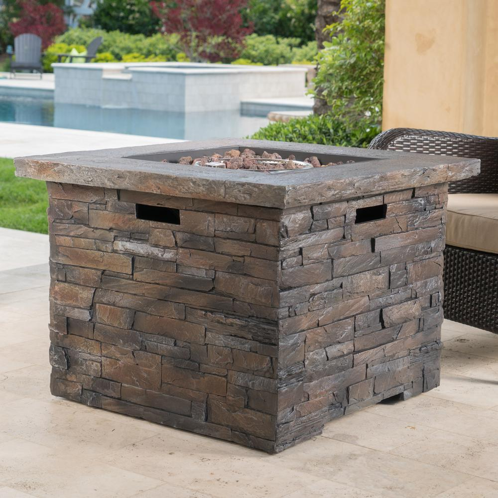Noble House Blaeberry 34.5 in. x 24 in. Natural Stone Square Gas Outdoor Firepit