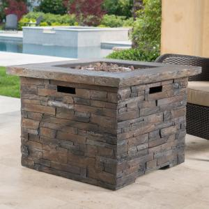 Natural Stone Square Gas Outdoor Firepit