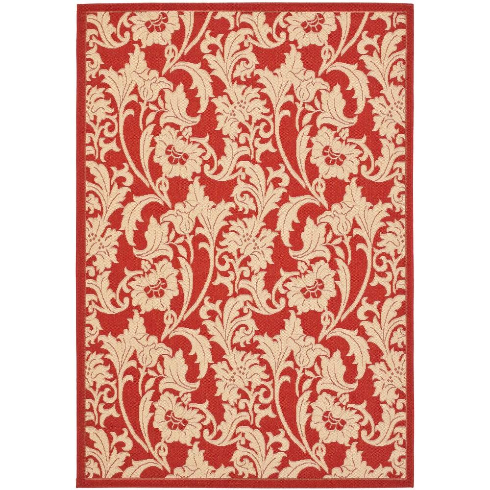 Safavieh courtyard red cream 4 ft x 5 ft 7 in indoor for Cream and red rugs
