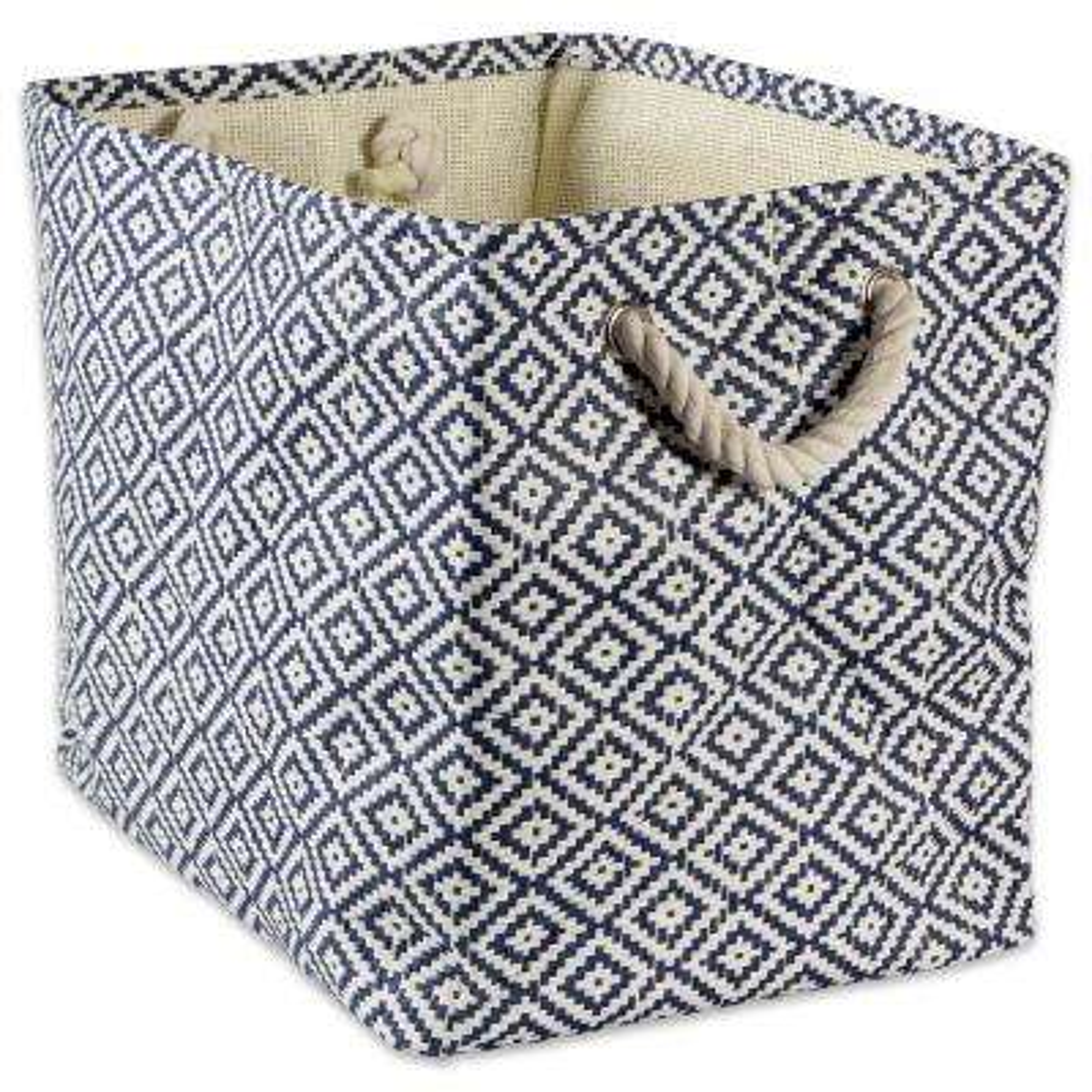 Rectangle Woven Paper Geo Diamond Decorative Bin