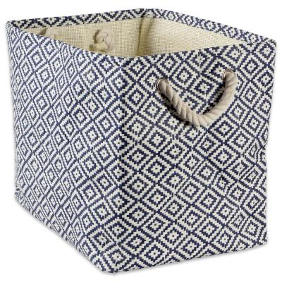 Rectangle Woven Paper Geo Diamond Decorative Bin