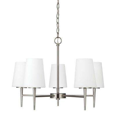Driscoll 5-Light Brushed Nickel Chandelier with Inside White Painted Etched Glass