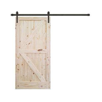 36 in. x 84 in. Rustic Unfinished 2-Panel V-Groove Pine Wood Interior Barn Door with Oil Rubbed Bronze Hardware Kit