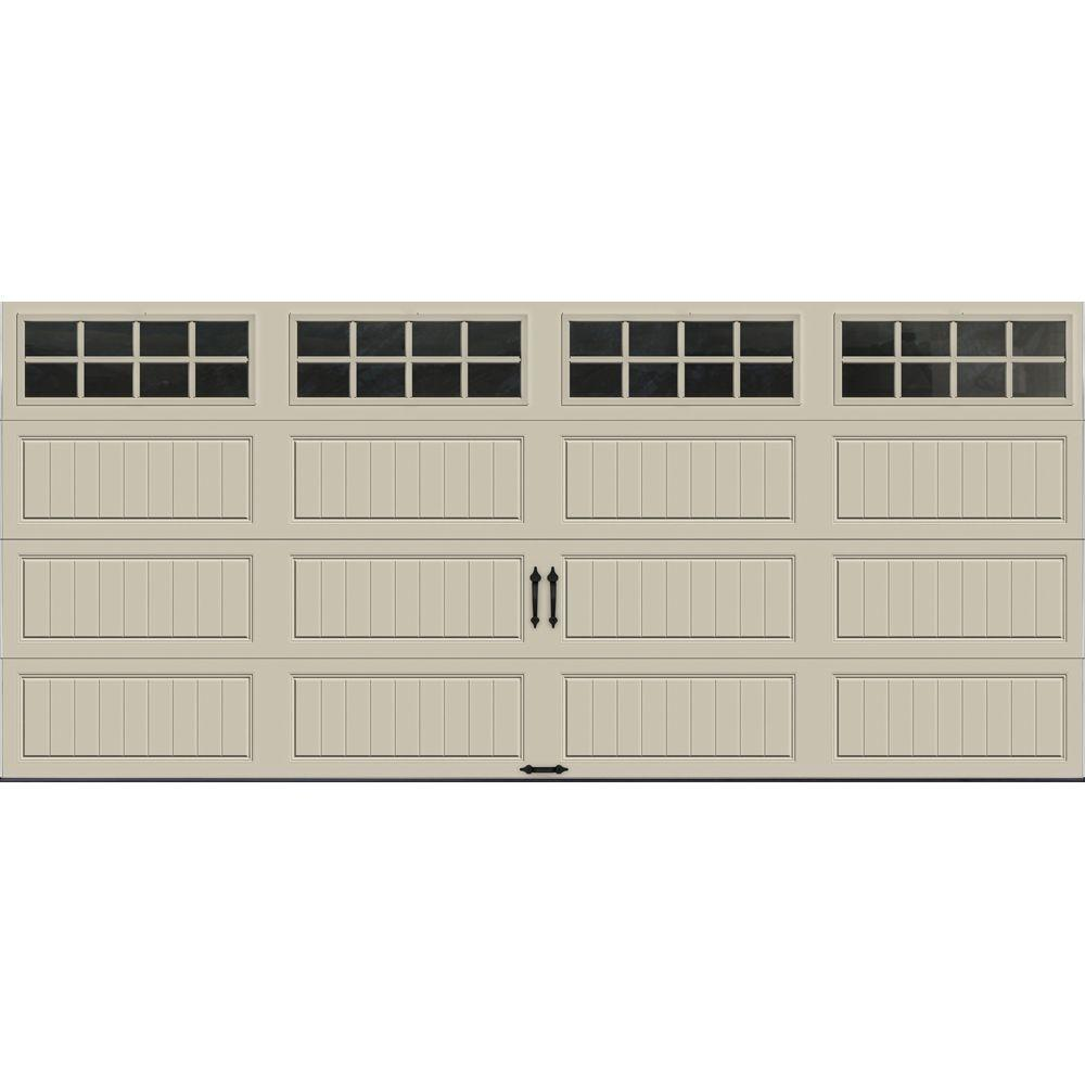 Clopay Gallery Collection 16 ft. x 7 ft. 6.5 R-Value Insulated Desert Tan Garage Door with SQ24 Window