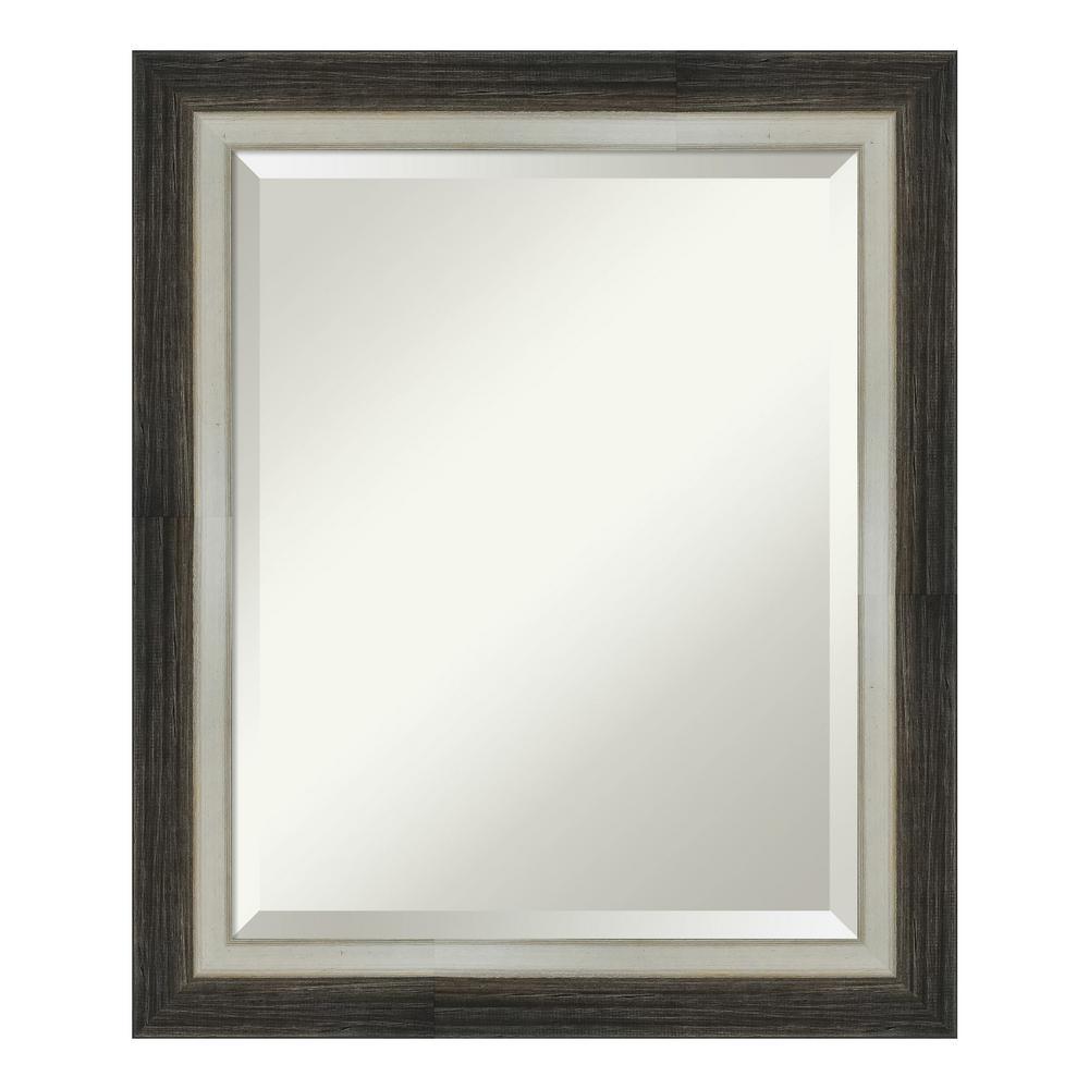 Amanti Art Brushed Metallic Wood Brown Bathroom Vanity Mirror DSW4093073