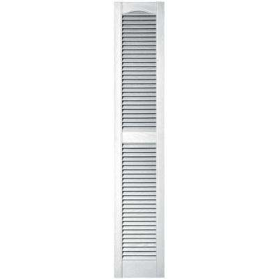 12 in. x 64 in. Louvered Vinyl Exterior Shutters Pair in #001 White