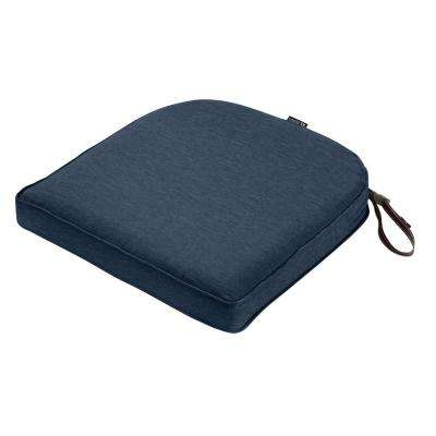 Montlake Fade Safe Heather Indigo 18 in. Contoured Outdoor Seat Cushion