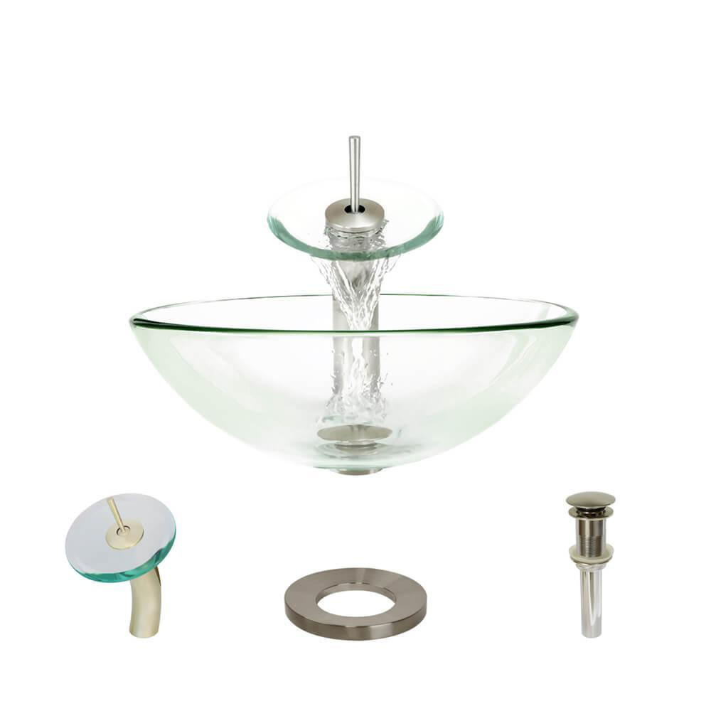 Glass Vessel Sink in Crystal with Waterfall Faucet and Pop-Up Drain