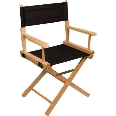 18 in. Light Wood Black Fabric Dining Height Director's Chair