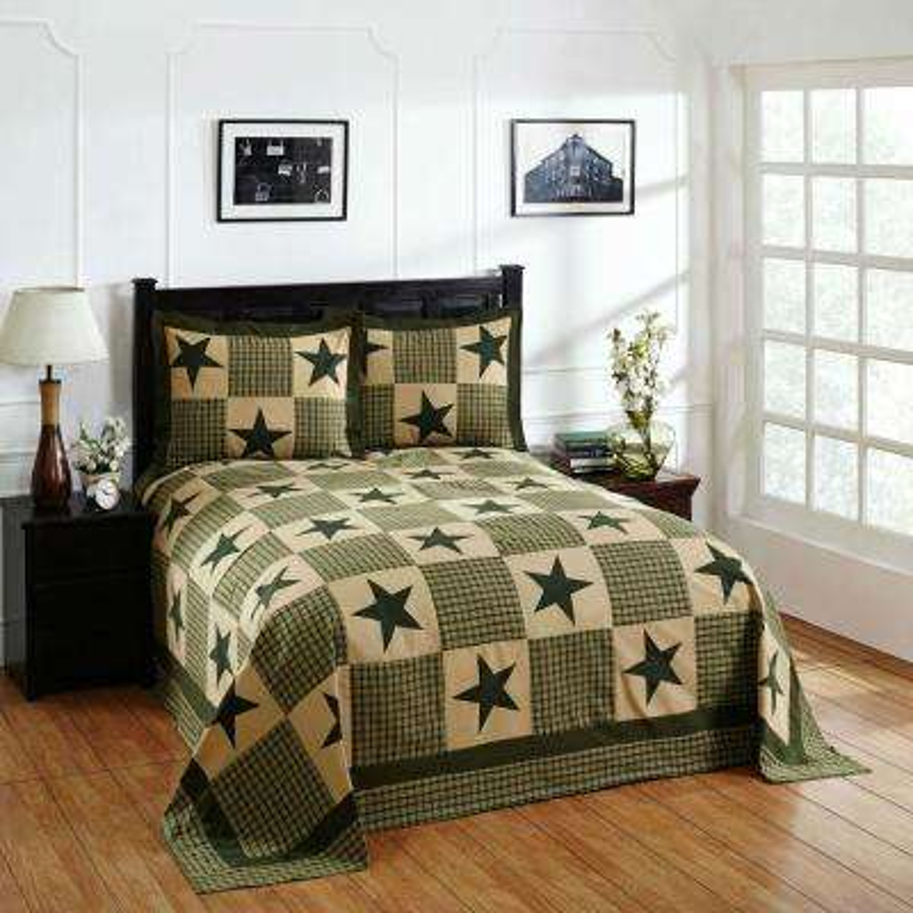 Star 3-Piece Green/Gold King Bedspread