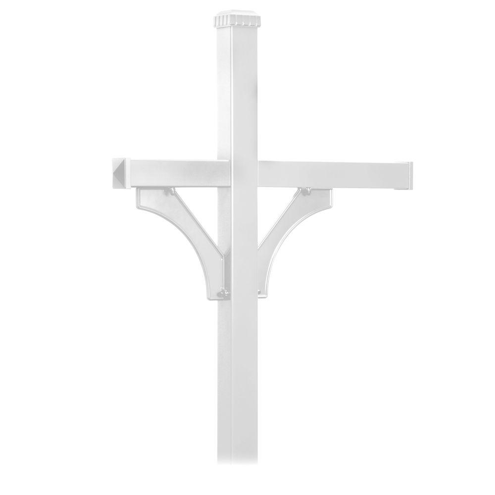 Deluxe 2-Sided In-Ground Mounted Post for 3 Mailboxes, White