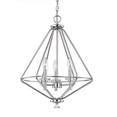 3-Light Polished Chrome Pendant with Crystal Accents