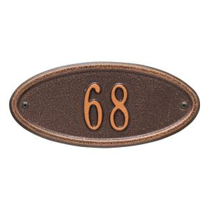 madison petite oval antique copper wall 1line address plaque whitehall products - Whitehall Products
