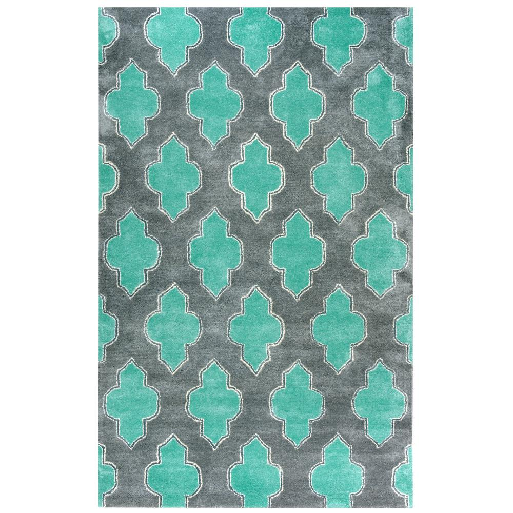 Florida Gray Turquoise Area Rug: Rizzy Home Fusion Collection Gray/Turquoise 5 Ft. X 8 Ft