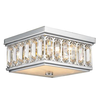 Athens 4-Light Chrome and Clear Crystal Flush Mount