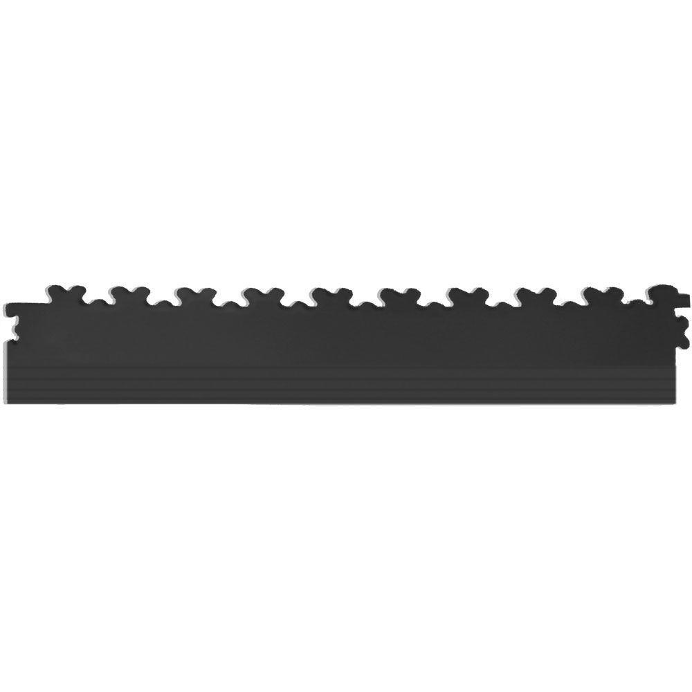 IT-tile 20-1/2 in. x 2-1/2 in. Diamond Plate Black PVC Tapered Interlocking Multi-Purpose Flooring Tile Edges (4-Pack)