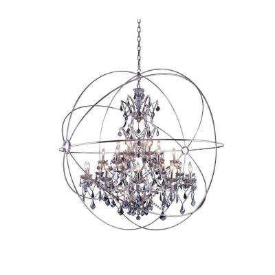 Geneva 25-Light Polished Nickel Chandelier with Silver Shade Grey Crystal