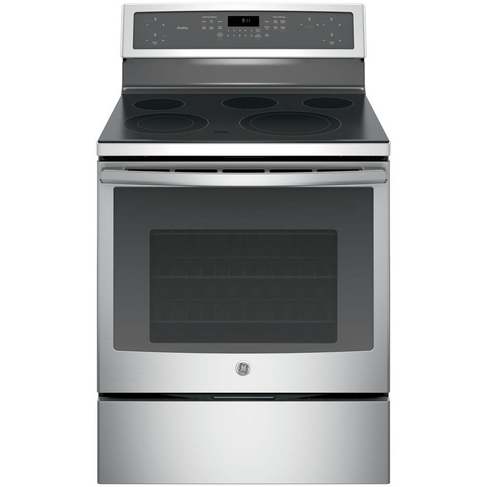 Ge Profile 30 In 5 3 Cu Ft Electric Range With Self Cleaning
